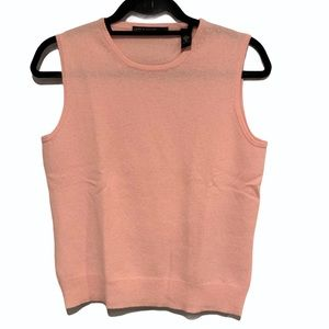 Lord and Taylor 2 Ply Cashmere Baby Pink Tank Top
